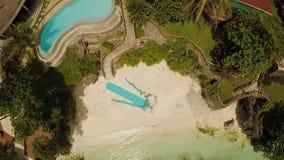在海滩的婚礼曲拱 远足婚礼 保和省海岸海岛鸟瞰图  通风 菲律宾 股票录像
