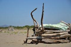 在海滩的小屋 图库摄影