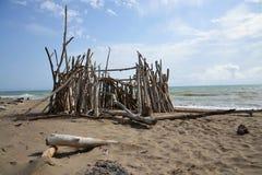 在海滩的小屋 库存图片