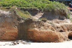 在海滩的小峭壁 库存图片