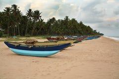 在海滩的小船斯里兰卡 库存照片