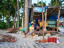 在海滩的日落在藩切,越南 库存图片