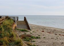 在海滩的木道路 免版税库存照片