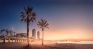 在海滩的橙色sunrset有棕榈的巴塞罗那 免版税库存照片