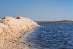 在海滩的沙丘在清楚的蓝天前面 免版税库存图片
