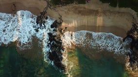 在海滩的海浪在夏威夷 股票视频