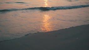 在海滩的海浪水在日落 影视素材