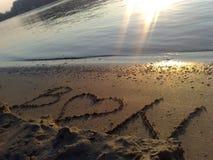 在海滩的消息 图库摄影