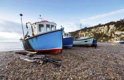 在海滩的渔船 库存照片