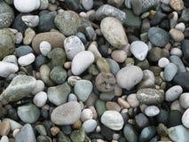 在海滩的灰色海小卵石 库存图片