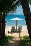 在海滩的热带假日 免版税库存图片