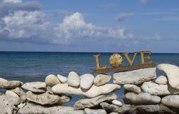 在海滩的爱 免版税库存照片