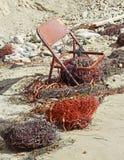 在海滩的生锈的椅子 免版税库存照片