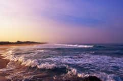 在海滩的美好的日出 库存照片