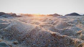 在海滩的美好的日落 库存照片