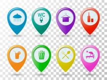 在海滩的色的象尖,地图的标签,重要地方的指定休息传染媒介illustra地方的  向量例证