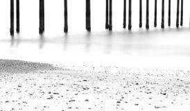 在海滩的芭蕾在黑白 库存图片