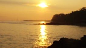 在海滩的被弄脏的日落视图 影视素材