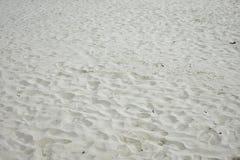 在海滩的许多脚印 免版税图库摄影