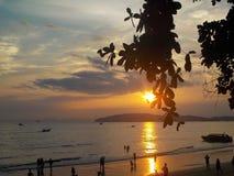 在海滩的金黄日落,泰国 免版税库存图片