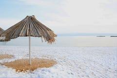 在海滩的雪 库存图片