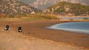 在海滩的风筝板 影视素材