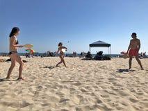 在海滩的SmashBall 库存照片