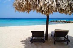 在海滩的Tiki小屋 库存图片