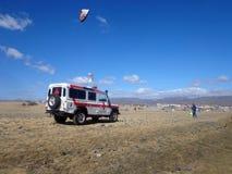 在海滩盛大金丝雀的汽车救护车, 2016年11月 库存照片
