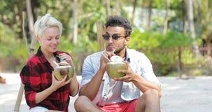 在海滩饮料椰子鸡尾酒谈话的夫妇坐在棕榈树、愉快的人和妇女游人通信下 股票录像