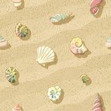 在海滩,无缝的背景,例证的贝壳 免版税库存照片