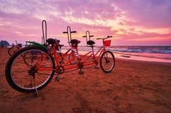 在海滩,Chaung南塔河,缅甸的纵排自行车 库存照片