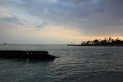 在海滩 海 沙子晃动夏威夷自然 晴朗的棕榈树水池 库存图片