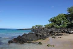 在海滩 海 沙子晃动夏威夷自然 晴朗的棕榈树水池 库存照片