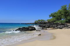在海滩 海 沙子晃动夏威夷自然 库存照片