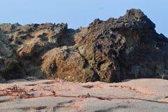 在海滩01的岩石或海滩石头 免版税库存图片