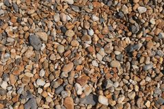 在海滩-背景的小卵石 图库摄影