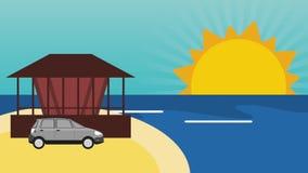 在海滩HD定义的汽车 向量例证