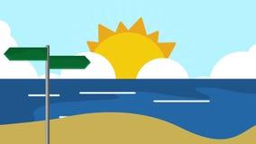 在海滩HD定义的路路标 向量例证