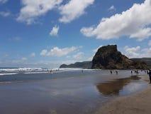 在海滩Piha新西兰的一天 免版税图库摄影