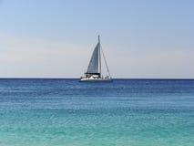 在海的一条风船 免版税库存照片