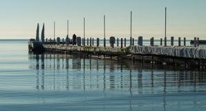 在海的冬天早晨 库存照片