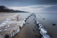 在海的冬天风景在波兰 库存照片