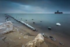 在海的冬天风景在波兰 库存图片