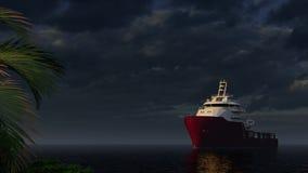 在海的大小船与棕榈树的日落的 向量例证
