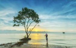 在海的女孩黎明 免版税库存图片