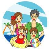 在海的家庭 库存照片