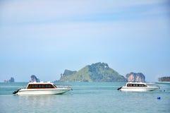 在海的小船在Krabi泰国 库存图片