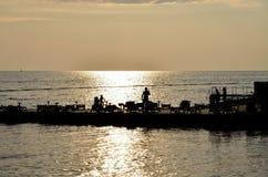 在海的斯洛文尼亚皮兰日落 免版税库存照片