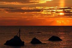 在海的日出。 免版税图库摄影